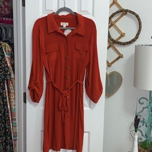 New xl button up orange dress